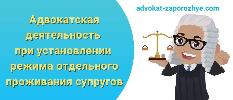 Адвокатская деятельность при установлении режима отдельного проживания супругов