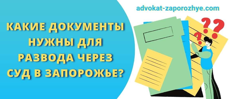 Какие документы нужны для развода через суд в Запорожье?